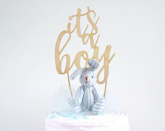 It's a boy cake topper/wood baby shower sprinkle timber cake topper gender reveal wooden new born decor decoration/birth announcement