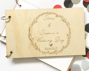 Wood Wedding Guest Book - wreath marriage guestbook timber wooden guest memory couple personalised custom engagement engaged