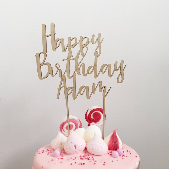 Personalised Happy Birthday Wood Cake Topper