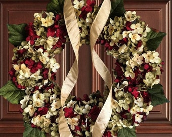 Front Door Wreaths, Best Selling Wreath, Burgundy Red, Green, and Cream Hydrangea Wreath, Year Round Wreath