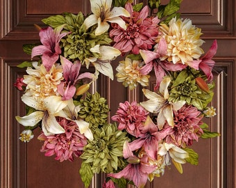 Dahlia & Lily Wreath | Front Door Wreaths | Spring Wreath | Mothers Day Wreath | Outdoor Wreath | Spring Wreath for Front Door