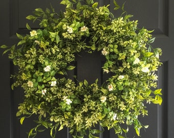 Boxwood Wreath with White Tea Leaf Flowers | Spring Wreaths | Front Door Wreaths | Summer Wreath | Farmhouse Wreath | Wall Decor