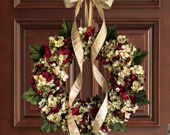 holiday wreaths christmas wreath blended hydrangea wreath front door wreath seasonal wreath artisan wreath year round wreaths - Christmas Wreaths Etsy