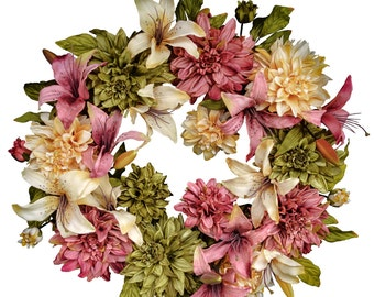 Summer Wreaths | Front Door Wreaths | Dahlia & Lily Wreath | Wreath | Spring Door Wreath | Outdoor Wreath |