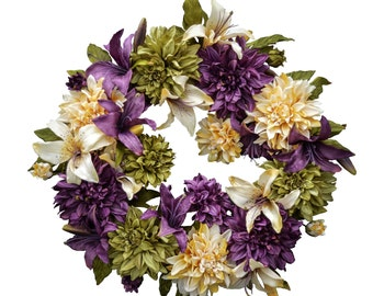 Dahlia & Lily Wreath | Front Door Wreaths | Wreath | Easter Wreath | Outdoor Wreath | New Home Gift Ideas | Easter Decor