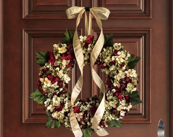 Wreaths   Hand Blended Hydrangea Wreath   Front Door Wreaths   Outdoor Wreath   Spring Wreath   Summer Wreath   Housewarming Gift