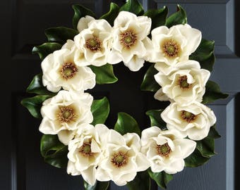 Magnolia Wreath | Front Door Wreaths | Magnolia Leaves | Farmhouse Wreath Decor | Spring Wreath | Magnolia Decor | Magnolia Blossom