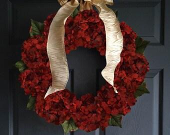 christmas hydrangea wreath red wreaths seasonal door wreath christmas decorations holiday decor outdoor holiday decor