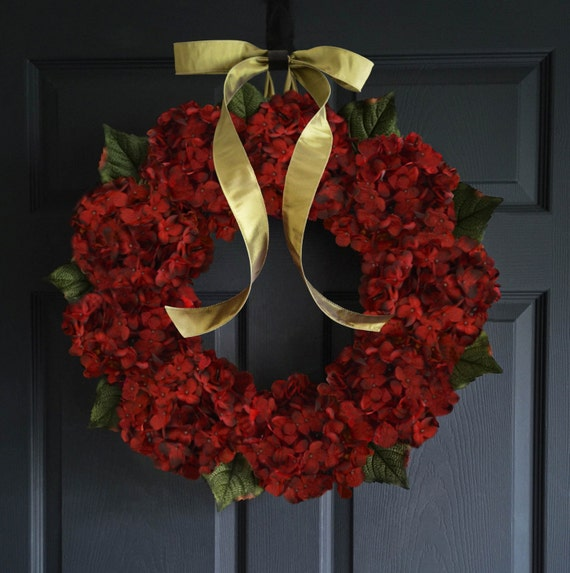 Red Hydrangea Wreath | Burgundy Hydrangeas | Front Door Wreaths | Outdoor Wreath | Winter Wreath | Year Round Wreath For Door by Etsy