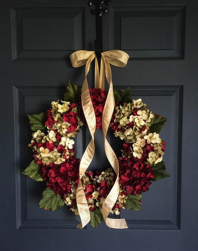Ordinaire Beautiful Wreaths Blended Hydrangea Wreath Burgundy | Etsy
