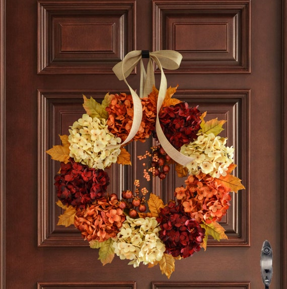 Hydrangea Wreath Fall Wreath Front Door Wreaths Fall | Etsy