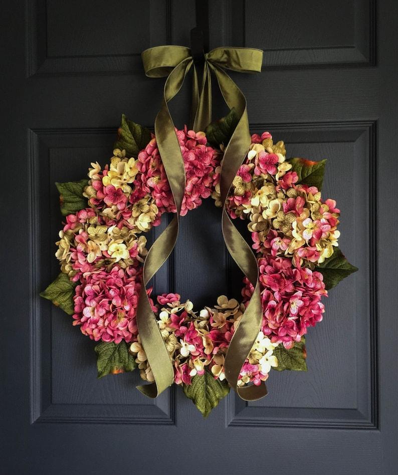 Summer Wreaths Hydrangea Wreath Front Door Wreath Shabby Etsy