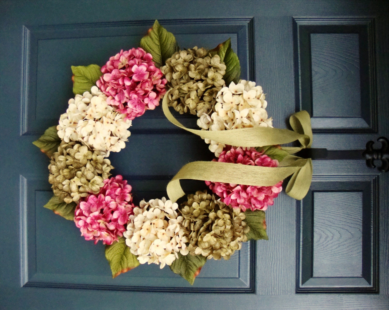 Spring Wreaths Front Door Wreath Hydrangeas Wreath Front Etsy