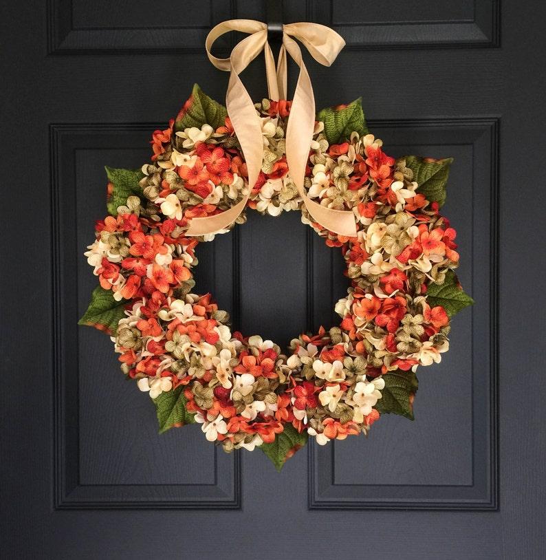 Wreaths Fall Wreath Front Door Wreaths Blended Hydrangea Etsy