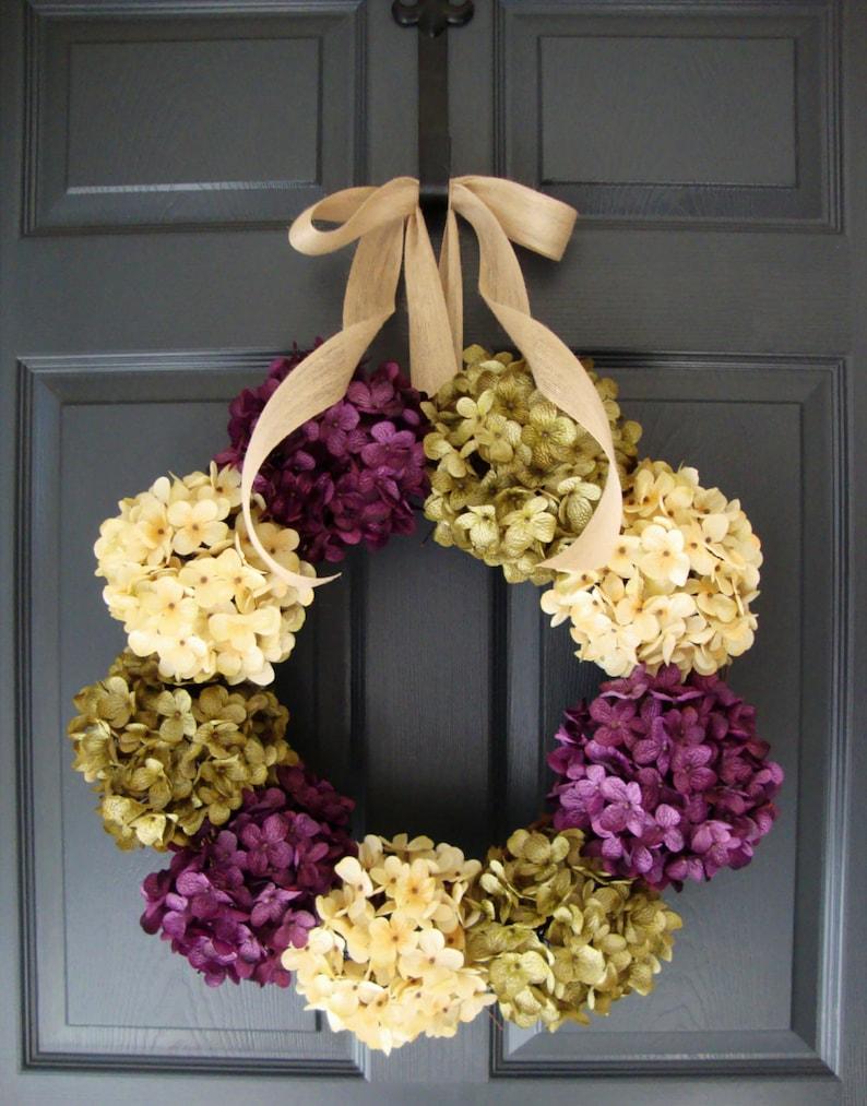 Spring Wreath Hydrangea Wreaths Spring Wreath Front Door Etsy