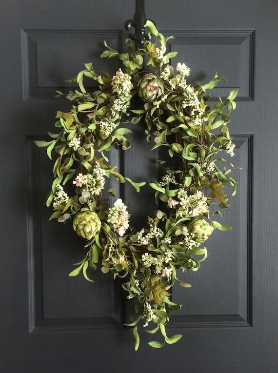 Oval Artichoke Wreath Wreath Front Door Wreaths Summer | Etsy