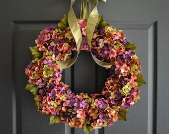 Beautiful Wreaths | Blended Hydrangea Wreath | Summer Wreaths | Front Door Wreaths | Everyday Wreath | Farmhouse Wreath | Summer Wreath