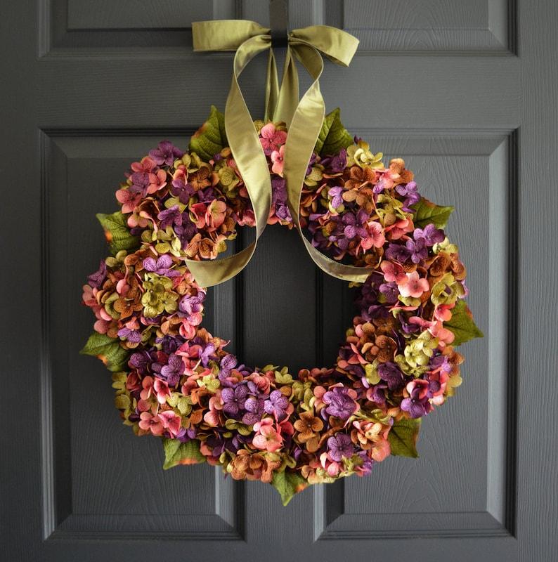 Spring Wreath Hydrangea Wreath Front Door Wreath Etsy