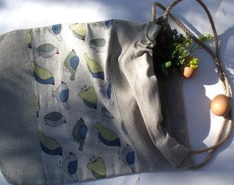 Linen tote bag BIRDS 1