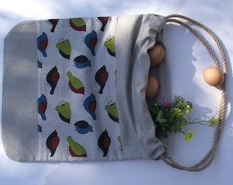 Linen tote bag BIRDS 2
