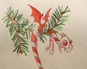 Candy Cane Dragon - matted original water colour sketch