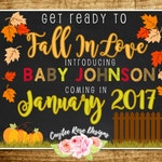 Get Ready To Fall In Love Pregnancy Announcement - Fall Pregnancy Announcement  - Digital Print - Printable or Photoshop - 16x20