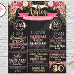 Adult Birthday Board - Boho Chic - Adult Cake Smash Picture Prop - Printable or Photoshop - Digital File - 16x20