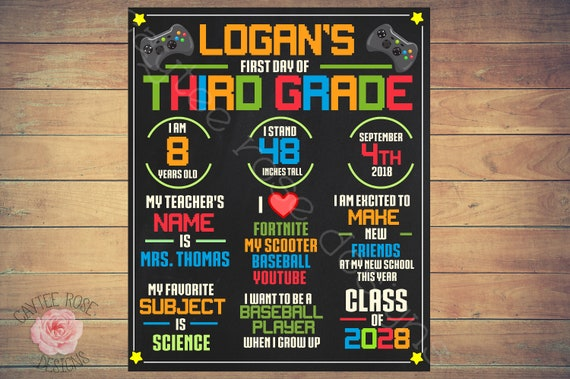 First Day Of School Video Game Sign Printable - Last Day of School Sign -  Back to School Sign - Printable or Photoshop into Frame - 16x20
