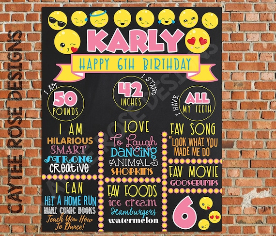 Emoji Birthday Board Any Age Printable Or Photoshop Into