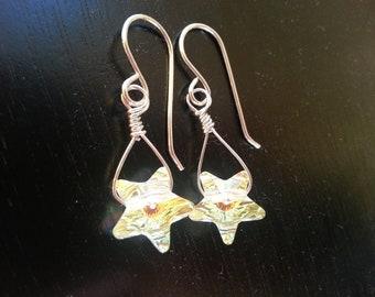 star earrings , sterling and crystal earrings , celestial earrings , swarovski crystal earrings