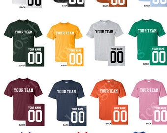 CUSTOM TODDLER T-Shirt JERSEY Personalized Any Color, Name, Number, Team Softball Baseball Football