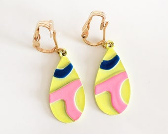 Vintage Statement Dangle Earrings - Colorful Neon Drop Earrings with Clip-On Backs