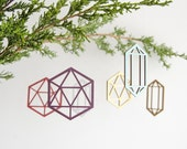 Mix & match promo! 4 pack of eco-friendly geometric wood tree ornaments - pet friendly and child friendly