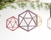 Single eco-friendly geometric wood tree ornament gift - pet friendly and child friendly