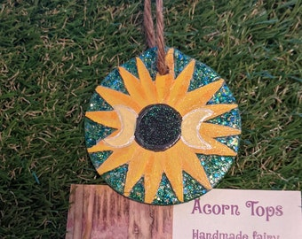 Sunflower Triple Moon Ornament- Hand Carved Sparkly Glow in the Dark