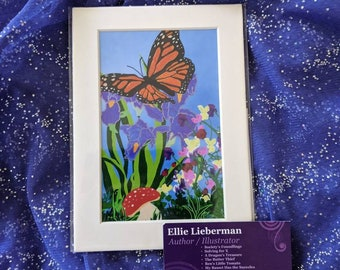 Monarch Butterfly- Embellished- 4x6 matted print- Ms. Hairry Illustration