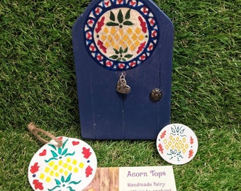 Pineapple Pennsylvania Dutch Hex Sign- Home Blessings - Hospitality- Gift Set- Fairy Door Ornament Pocket Magic