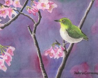 Bird Among Cherry Blossoms