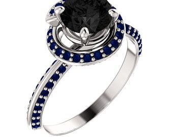 Twists and turns - Black Diamond and Sapphire in 14k