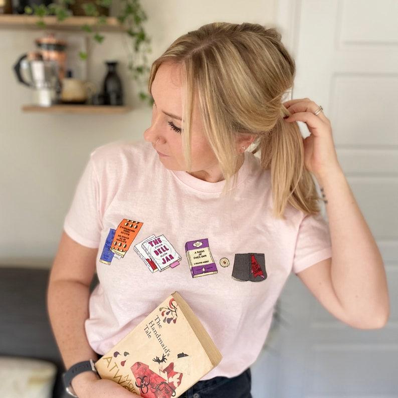 Feminist T-shirt Fem Lit Tee Book tee Sylvia Plath The image 0
