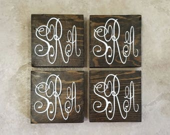 Wood Coasters - Monogram Coasters - Monogram Wood Coasters - Personalized Wood Coasters - Wedding Gift - Personalized Drink Coaster