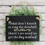 Please Don't Knock or Ring The Doorbell - Wood Sign - Protective Dog Sign - Sleeping Baby Sign - No Soliciting Sign - Do Not Disturb Sign