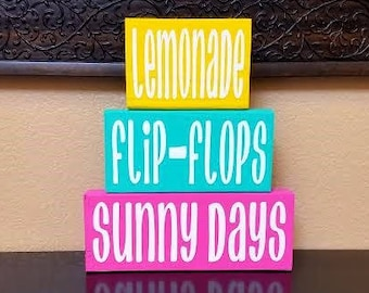 Summer Wood Blocks - Summer Blocks - Summer Decor - Summer Wood Decor - Lemonade - Flip-Flops - Sunny Days - Summer Sign