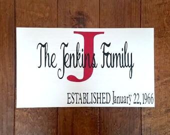 Established Date Sign - Established Family Sign - Last Name Sign - Wedding Gift - Established Date - Wedding Sign - Wedding Date Sign