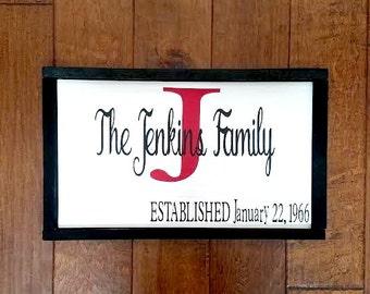 Established Date Sign - Established Family Sign - Last Name Sign - Wedding Gift - Established Date - Wedding Date - Wedding Sign