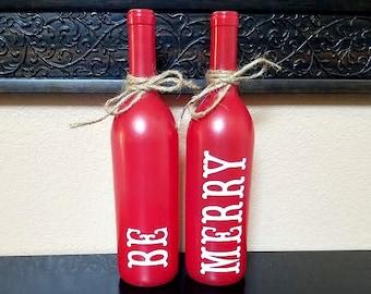 Bouteilles de vin - décor de Noël - Noël de vin décor - décor de bouteille de vin - vin cadeau - vacances des bouteilles de vin - cadeau de Noël