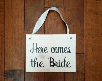 Here Comes The Bride - Here Comes The Bride Sign - Ring Bearer Sign - Uncle Here Comes - Flower Girl Sign - Wedding Decor - Wedding Sign