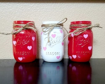 Valentine S Day Mason Jar Pink And White Striped With Etsy