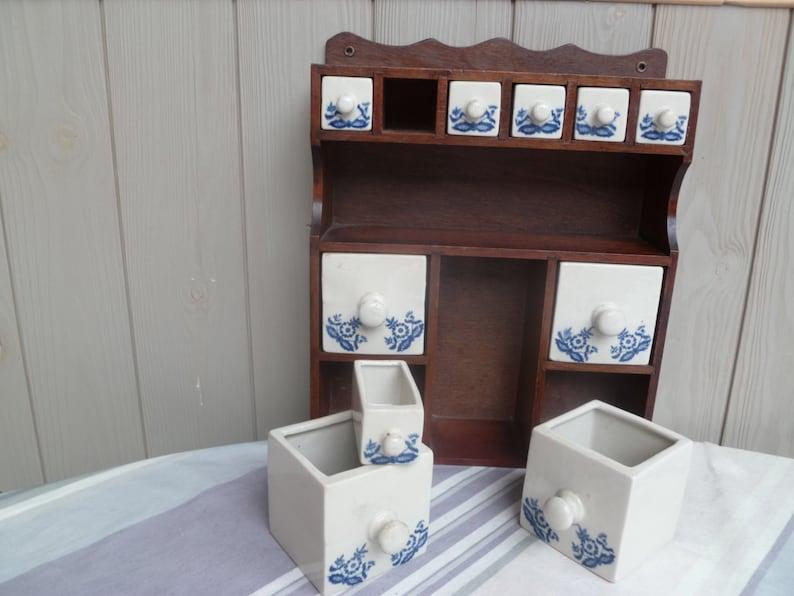 Kitchenbathroom decorative Wooden storage unitspice rackoffice shelving unit ten transfer printed pottery drawers