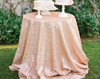Rose Gold Sequin Tablecloth READY TO SHIP. Sparkly Vintage Shabby Pink Sequin Table linen for Girly Birthday Baby Shower Bridal Shower Party